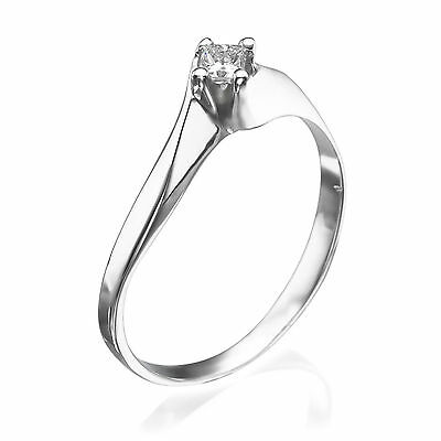Engagement Ring Natural Diamond 0.1 CT Solitaire Solid 18K White Gold Size 6.5