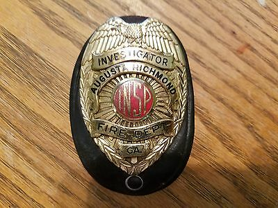 Antique Augusta Georgia Fire Department Investigator Badge RARE