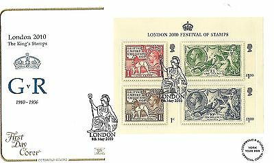 Gb 2010 The King's Stamps Miniature Sheet On Cotswold Official Fdc