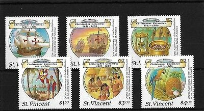 St Vincent 1988 Columbus (2Nd Issue) Mnh, Sg1125/30