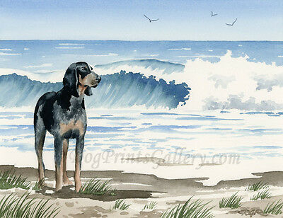 """""""Bluetick Coonhound at the Beach"""" Watercolor ART Print Signed by Artist DJR"""