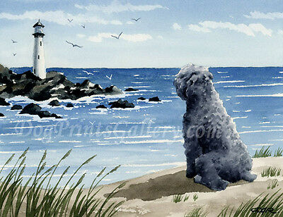 """Bouvier Des Flandres at the Beach"" Watercolor ART Print Signed by Artist DJR"