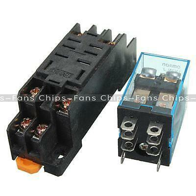 New  DC 12V Coil Power Relay LY2NJ DPDT 8 Pin HH62P JQX-13F With Socket Base
