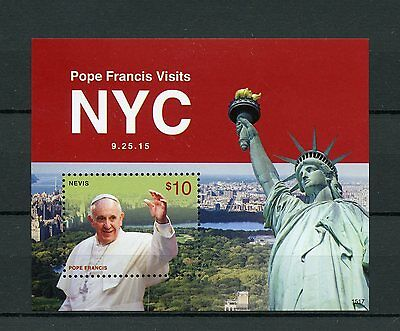 Nevis 2015 MNH Pope Francis Visits New York NYC 1v S/S Statue of Liberty Stamps