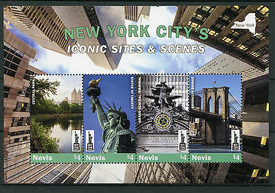 Nevis 2016 MNH New York City Iconic Sites NY2016 4v M/S Statue of Liberty Stamps