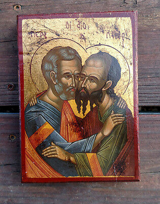 Saint Peter and St. Paul Byzantine icon on wood