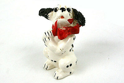 Porcelain Dalmatian Texaco Fire Chief Puppies Figurine with Red Bow