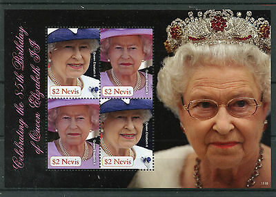 Nevis 2011 MNH Queen Elizabeth II 85th Birthday 4v M/S Royalty Stamps