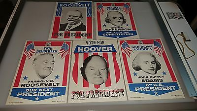 1972 Topps Us Presidents Campaign Posters Complete Set Of 15 With Folds Clean!