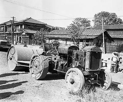 Orig. Negative 1346 Combat Engineers Okinawa 1945. Japanese tractor with roller.