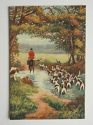 Tuck Oilette postcard: Fox & Stag Hunting series: hounds returning home c1905