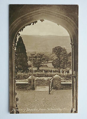 Dunkery Beacon from Selworthy church, Somerset. Vintage Frith postcard