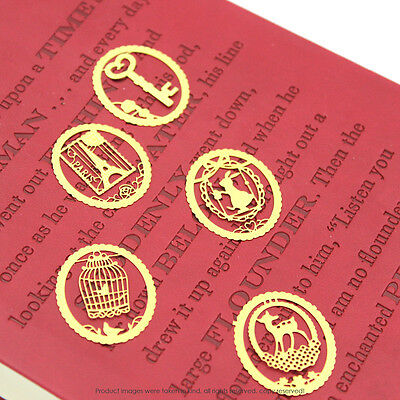 Mini clips-bookmarks oval shape clips for every page-metal-gold Random Pick X5