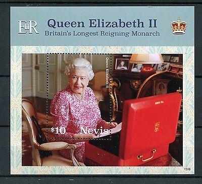 Nevis 2015 MNH Queen Elizabeth II Longest Reigning British Monarch 1v S/S Stamps