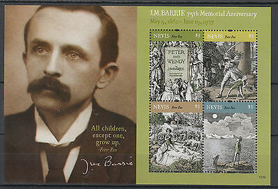 Nevis 2012 MNH JM Barrie 75th Memorial Anniversary 4v M/S Peter Pan Stamps
