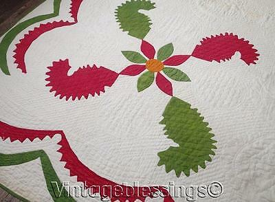 ANTIQUE 1860 Christmas Poinsettia Princess Feather Applique QUILT Red Green Ched