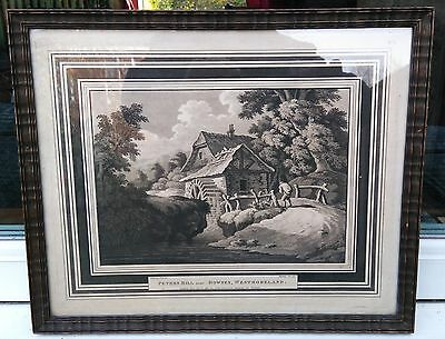 "Antique 1798 Ackermann's Gallery Aquatint Print ""Peters Mill"" by Heinrich Schütz"
