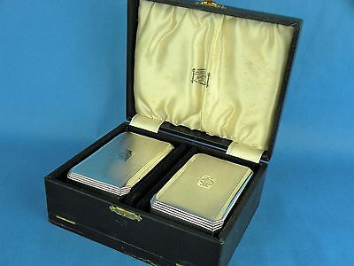 Antique Cased Pair of Gentlemens Art Deco Engine Turned Silver Hair Brushes 1938