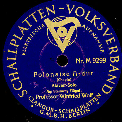 WINFRIED WOLF -PIANO- Chopin: Polonaise A-dur / Revolutions-Etüde   78rpm  S6348