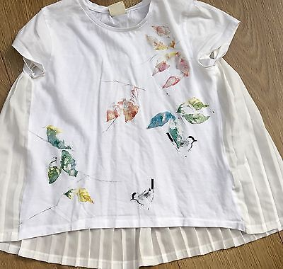 Zara Pretty Butterfly Top Chiffon Concertina Back Excellent Condition 13-14yrs