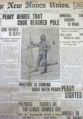 8 1909 newspapers PEARY & COOK CONTROVERSY BothClaimToBe 1st to REACH NORTH POLE