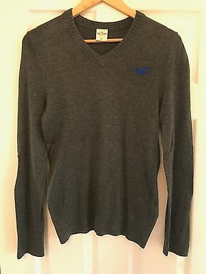 HOLLISTER - Grey Cotton Jumper - Size Small (S) Mens - V Neck