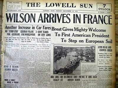 3 1918 newspapers WOODROW WILSON to PARIS PEACE CONFERENCE USS George Washington