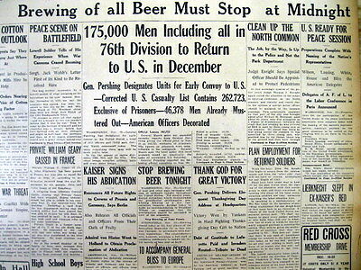 1918 headline newspaper w BEGINNING of THE PROHIBITION of BREWING BEER in the US