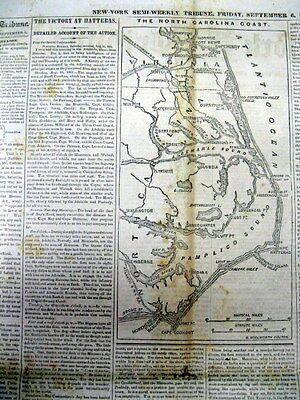 1861 newspaper with Large Detailed MAP of the Atlantic Coast of NORTH CAROLINA