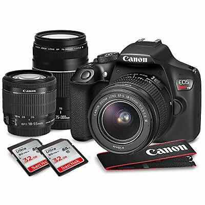 Canon EOS Rebel T6 DSLR Camera with EF-S 18-55mm & EF 75-300 lens, Deluxe Acc...