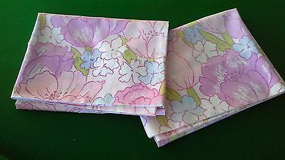vintage pair retro fabric pillowcases pink floral pillowslips x2 WALTONS BRAND