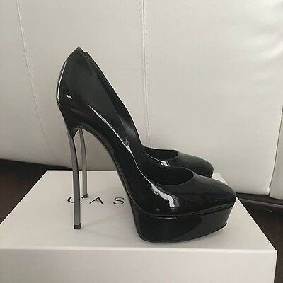 Authentic Casadei Black Patent Leather Pumps Size 38