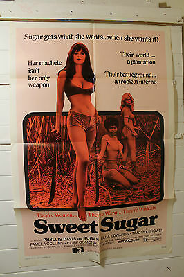 "An Original One Sheet ""sweet Sugar""' Vfine 1972 Phyllis Davis"