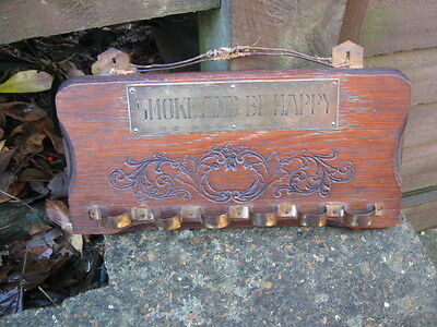 Vintage Novelty Pipe Rack.smoke And Be Happy.6 X Pipe Holders On Oak Plinth.