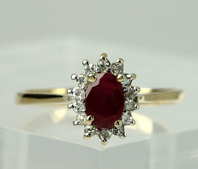 Natural Round Diamond & Oval Ruby 14k Yellow Gold Band Ring Size 6.75