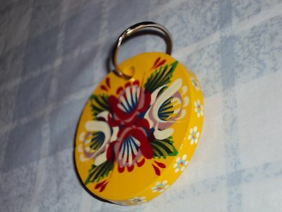 Yellow Round Wooden Key Ring, Narrow Boat, Barge Ware, Canal Folk Style Art