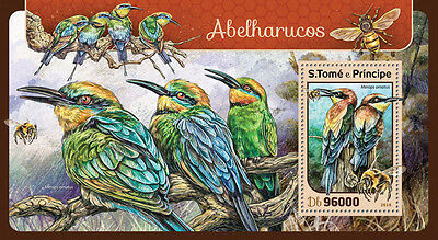 Sao Tome & Principe 2016 MNH Bee-Eaters 1v S/S Birds Stamps