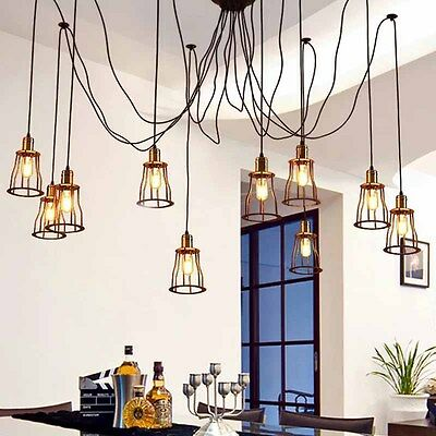 Vintage Industrial 10 Head Cord Roof Cage Shade Pendant Ceiling Light Lamp DIY