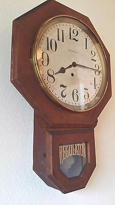 """Antique Ingraham """"BRISTOL"""" Schoolhouse Wall Clock Keeps Good Time Old Wavy Glass"""