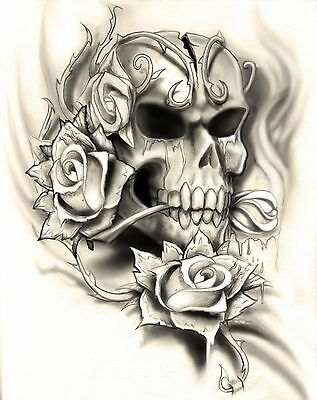 Multi Layer 5 Layer Evil Love Skull Airbrush Stencil Low Detail
