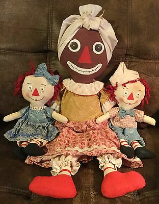 Primitive Belindy Mammy Doll & Raggedy Ann & Andy~Handcrafted~Primsical Prairie