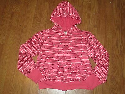GYMBOREE girls hot pink zip-up hoodies stripes and hearts size 12