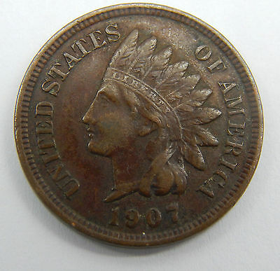 1907 Indian Head Penny EF+ ** Full Liberty and Diamonds **