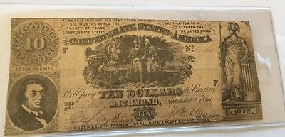 1861 $10 Confederate States of America Bill