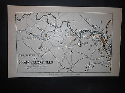 Battle of Chancellorsville Virginia Map Civil Troop Locations Forts Hand Colored
