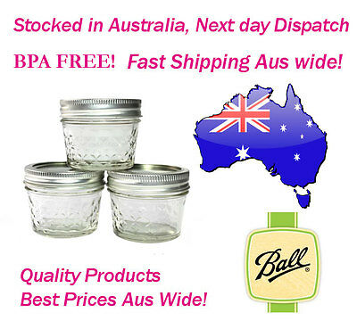 Ball 4 oz Quilted Glass Jelly Jars Case of 6