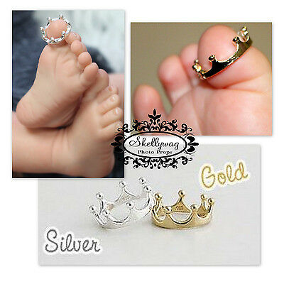 Newborn Baby Girl Boy Twinkle Toe Ring Tiara Silver Gold Photography Photo Prop