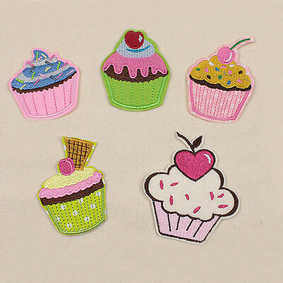 Embroidered Iron Sew On Patch Ice Cream Cup Cake Motif Shirt Bag Badge Applique