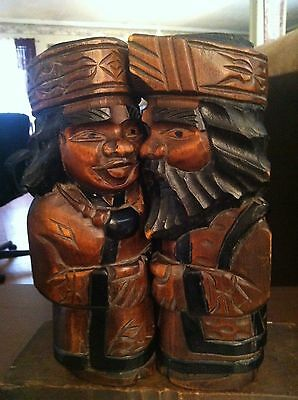 Vintage Unknown Pair of  Wood Carved Statues SIGNED on Stand