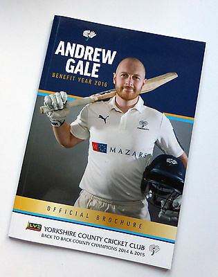 Yorkshire County Cricket Andrew Gale benefit year brochure 2016